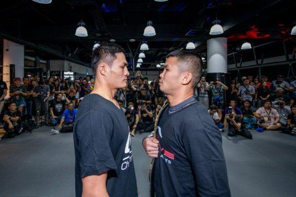 ONE Bantamweight World Champion Nong-O Gaiyanghadao stares down Saemapetch Fairtex ahead of their bout in Singapore